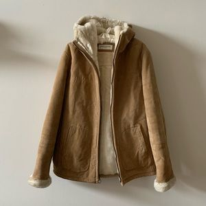Genuine leather hooded WINTER coat faux fur lined